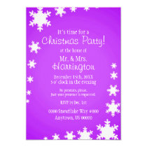 Purple and White Theme Christmas Party Invitation