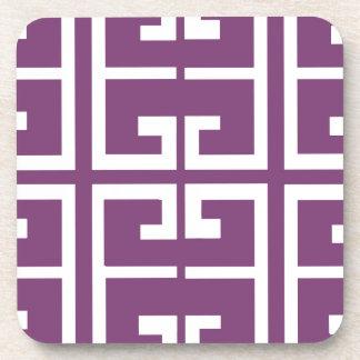 Purple and White Tile Beverage Coaster