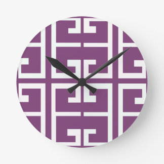 Purple and White Tile Round Clock