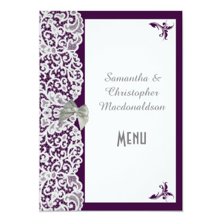 Purple and white traditional lace wedding menu card