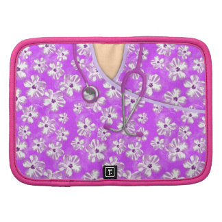 Purple And White Tropical Medical Scrubs Folio Planner