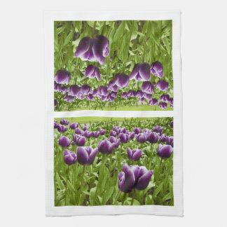 Purple and White Tulips Hand Towel