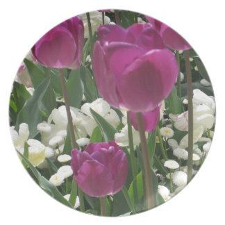 Purple and White Tulips Melamine Plate
