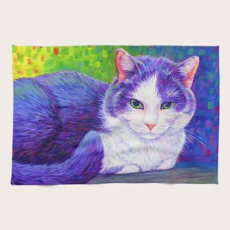 Purple and White Tuxedo Cat Kitchen Towels