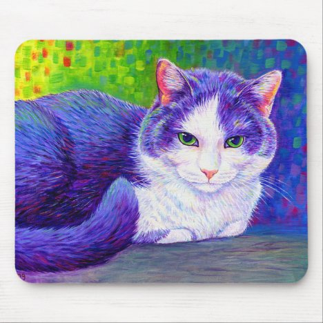 Purple and White Tuxedo Cat Mouse Pad