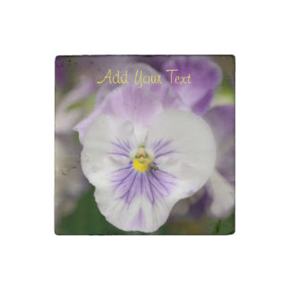 Purple and White Violas by Shirley Taylor Stone Magnet