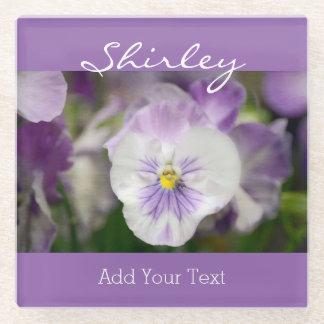 Purple And White Violas Glass Coaster