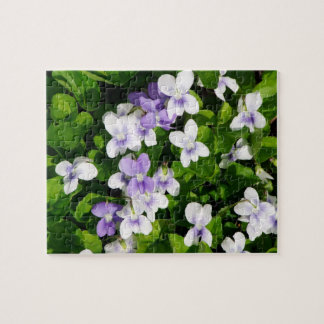 Purple and White Violets Jigsaw Puzzle