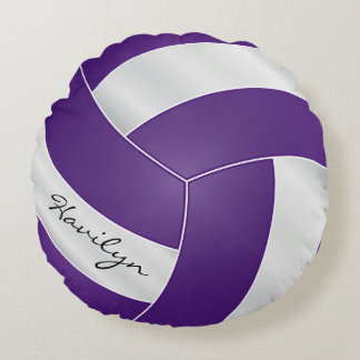 Purple and White Volleyball | DIY Name Round Pillow