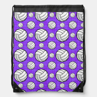 Purple and White Volleyball Pattern Drawstring Bag