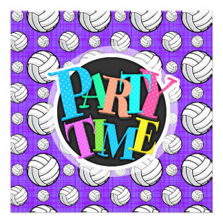 Purple and White Volleyball Pattern Invites