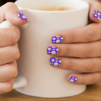 Purple And White Volleyball Pattern Minx Nail Art