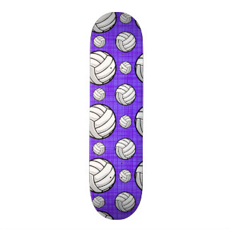 Purple and White Volleyball Pattern Skate Board