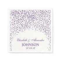 Purple and White Wedding Confetti Pattern Napkin