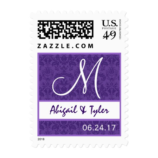 Purple and White Wedding Damask Monogram B706 Postage