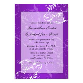 Purple and White wedding invitation