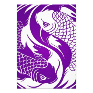 Purple and White Yin Yang Koi Fish Announcements