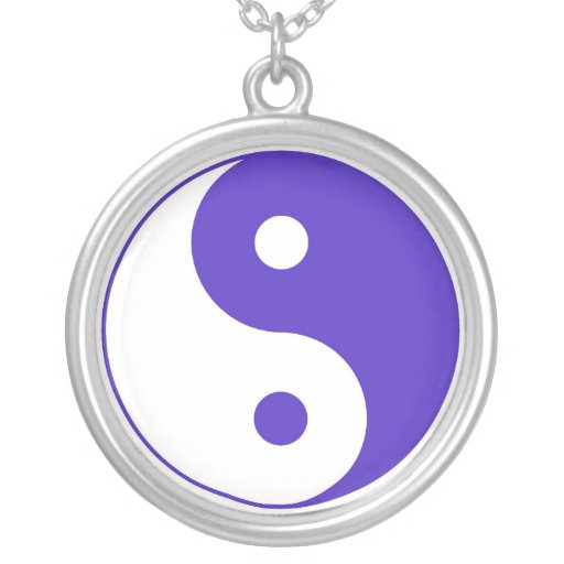 Purple and White Yin & Yang Necklace