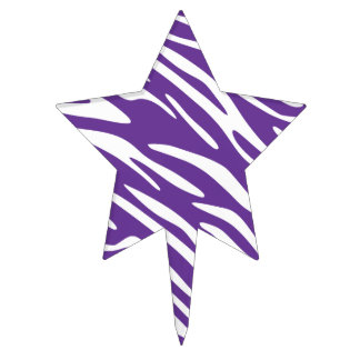 Purple and White Zebra Stripes Cake Pick Topper