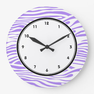 Purple and white Zebra stripes pattern Large Clock