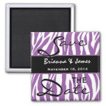 Purple and White Zebra Wedding Save the Date 2 Inch Square Magnet