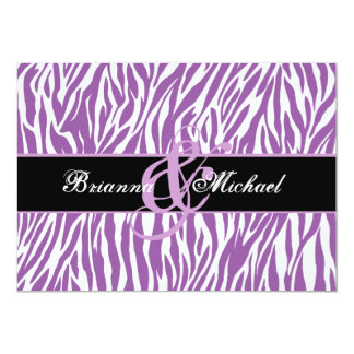 Purple and White Zebra Wedding Save the Date 5x7 Paper Invitation Card