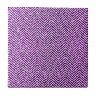 Purple and White Zig Zag Glitter Ceramic Tile