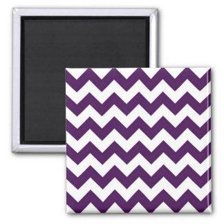 Purple and White Zigzag 2 Inch Square Magnet