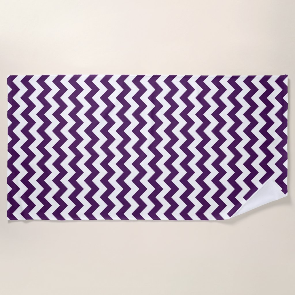 Purple and White Zigzag Beach Towel