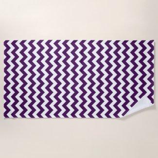 Purple and White Zigzag Beach Towel