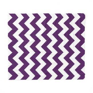 Purple and White Zigzag Fleece Blanket
