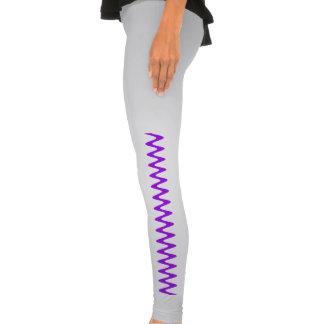 Purple and White Zigzag Leggings