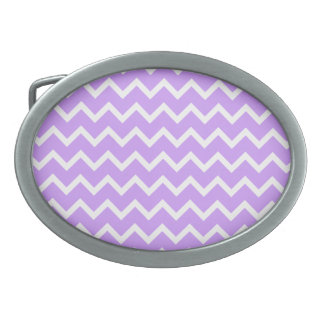 Purple and White Zigzag Stripes. Belt Buckle