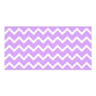 Purple and White Zigzag Stripes. Card