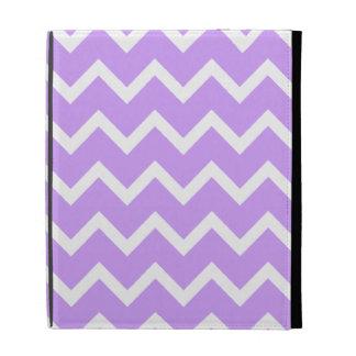 Purple and White Zigzag Stripes iPad Folio Cases