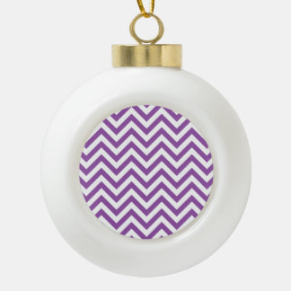Purple and White Zigzag Stripes Chevron Pattern Ceramic Ball Christmas Ornament