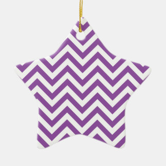 Purple and White Zigzag Stripes Chevron Pattern Ceramic Ornament