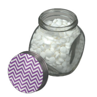 Purple and White Zigzag Stripes Chevron Pattern Glass Jars