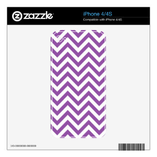 Purple and White Zigzag Stripes Chevron Pattern iPhone 4 Decals
