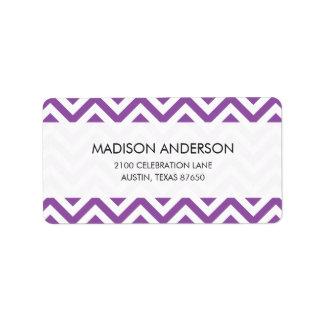 Purple and White Zigzag Stripes Chevron Pattern Label