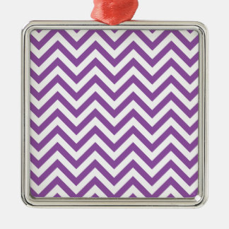 Purple and White Zigzag Stripes Chevron Pattern Metal Ornament
