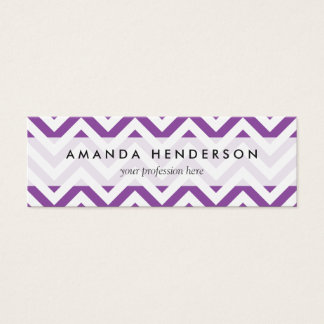 Purple and White Zigzag Stripes Chevron Pattern Mini Business Card