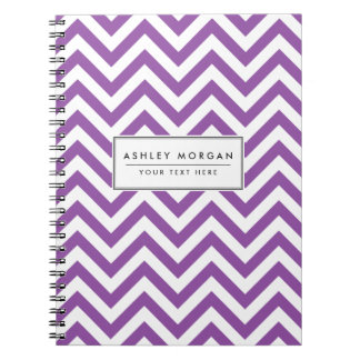 Purple and White Zigzag Stripes Chevron Pattern Notebook