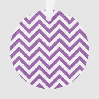 Purple and White Zigzag Stripes Chevron Pattern Ornament