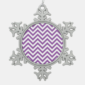 Purple and White Zigzag Stripes Chevron Pattern Snowflake Pewter Christmas Ornament