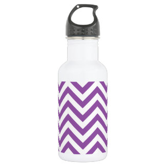 Purple and White Zigzag Stripes Chevron Pattern Stainless Steel Water Bottle