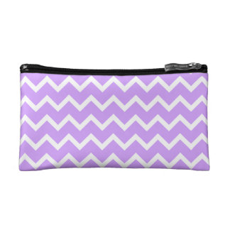 Purple and White Zigzag Stripes. Makeup Bag