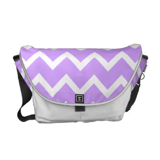 Purple and White Zigzag Stripes. Courier Bags