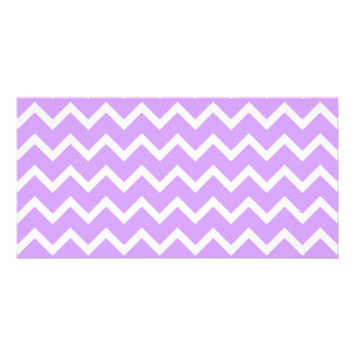 Purple and White Zigzag Stripes. Photo Card