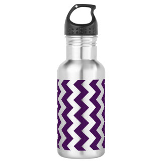 Purple and White Zigzag Water Bottle